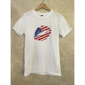 American Lips Graphic Shirt July 4th Unisex Small